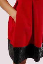 Red Skater Dress With Black Sequin Hem - 3
