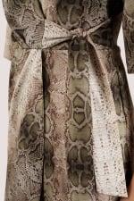 Snakeskin Print Collar Wrap Dress - 3