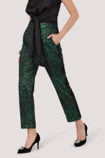 Green Jacquard Slim Leg Trouser With Satin Side Stripe - 3
