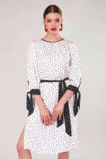 White Polka Dot Bow Cuffs Gathered Dress - 1