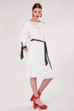 White Polka Dot Bow Cuffs Gathered Dress - 3
