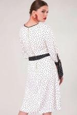 White Polka Dot Bow Cuffs Gathered Dress - 2