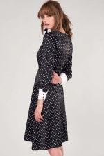 Closet Gold Black Polka Dot Pleated Midi Skirt Dress - 2