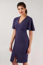 Blue Pencil Angel Sleeve Dress - 3