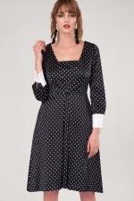 Closet Gold Black Polka Dot Pleated Midi Skirt Dress - 1