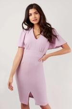 Lilac Pencil Angel Sleeve Dress - 1