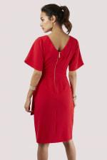 Red Kimono Wrap Dress - 2