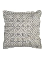 Blue & Natural Poly Filled Throw Pillow - Blue - Back
