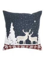 """Holiday Deer Winterscape 20""""x20"""" Blue Cotton Pillow Cover - Blue - Back"""
