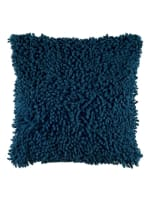 Solid Marine Blue Poly Cotton Filled Pillow - Blue - Back