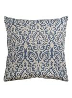 Damask Blue & Natural Throw Pillow - 2