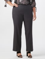Roz & Ali Secret Agent Pull On Tummy Control Pants - Short Length - Plus - Grey - Front