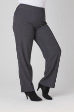 Roz & Ali Secret Agent Pull On Tummy Control Pants - Tall Length - Plus - Grey - Detail