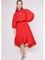 Karen Ruffle Hem  Hi Low Dress - Plus - 10