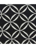 Geometric Design Black and White Cotton Pillow Cover - 1
