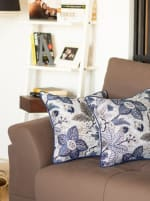 """Set of 2 17"""" Jacquard Forest Sky Throw Pillow Cover in Blue - Blue - Front"""