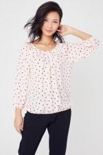 Roz & Ali Blush Heart Bubble Hem Blouse - Petite - Blush - Front