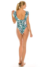 CaCelin V - Cut Palm Print One Piece Swimsuit - White - Back