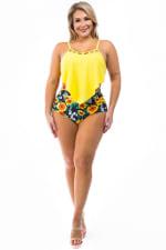 CaCelin High Waist Bikini Swimsuit - Plus - Yellow - Front