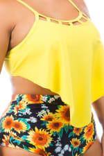 CaCelin High Waist Bikini Swimsuit - Plus - Yellow - Detail
