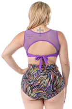 Cacelin Ultra High Waist Bikini Swimsuit - Plus - Purple - Back