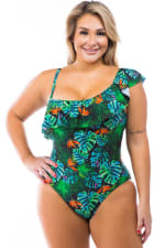 Cacelin Ruffle Sleeve One Piece Swimsuit - Plus - Black - Front