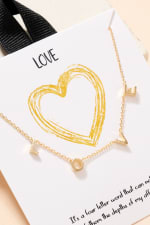 L-O-V-E Letter Charm Gold Plated Necklace - 2