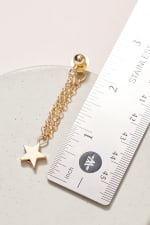 Gold / Rhodium Plated Star Charms Chain Dangling Earrings - 3