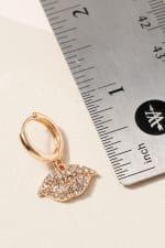 Gold/Rhodium Plated Lips Shape Charm Hoop Earrings - 3