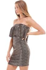 Shiny Textured Flounced Tube Dress - 4