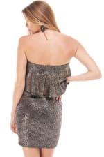 Shiny Textured Flounced Tube Dress - 2