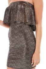Shiny Textured Flounced Tube Dress - 3