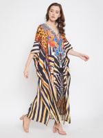 Leopard Handmade Print Kaftan Dress - 5