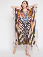 Leopard Handmade Print Kaftan Dress - 6