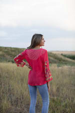 Embroidered Textured V-Neck Top - 2