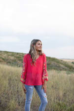 Embroidered Textured V-Neck Top - 3