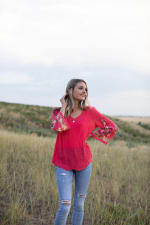 Embroidered Textured V-Neck Top - 4
