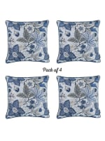 """Set of 4 17"""" Forest Sky Jacquard Throw Pillow Cover in Blue - 2"""
