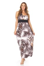 Animal Print Sleeveless Maxi Dress - 1