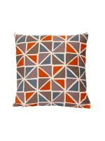Orange and Blue Geometric Design Square Pillow - 1