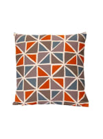 Orange and Blue Geometric Design Square Pillow - 2