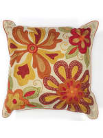 Square Beaded Accent Pillow - Red - 2