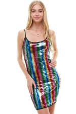 Multi Color Sequin Cami Dress - 9