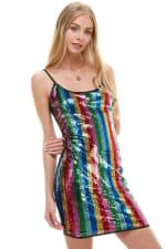 Multi Color Sequin Cami Dress - 6