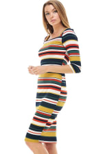 Multi Stripe Rib Fitted Midi Dress - 7
