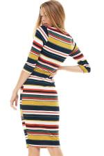Multi Stripe Rib Fitted Midi Dress - 4
