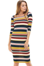 Multi Stripe Rib Fitted Midi Dress - 8