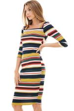 Multi Stripe Rib Fitted Midi Dress - 6