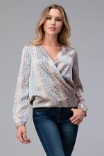 Women Surplice Long Sleeve Tie Back Blouse Top - 6