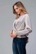 Women Surplice Long Sleeve Tie Back Blouse Top - 8